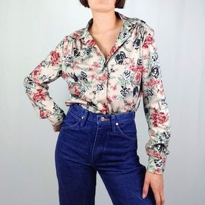 70's floral printed button down